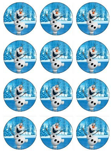 Disney Frozen Birthday Party Ideas 12 EDIBLE Disney Frozen OLAF Cupcake Toppers or Cookie Toppers Edible Image for Birthday Party