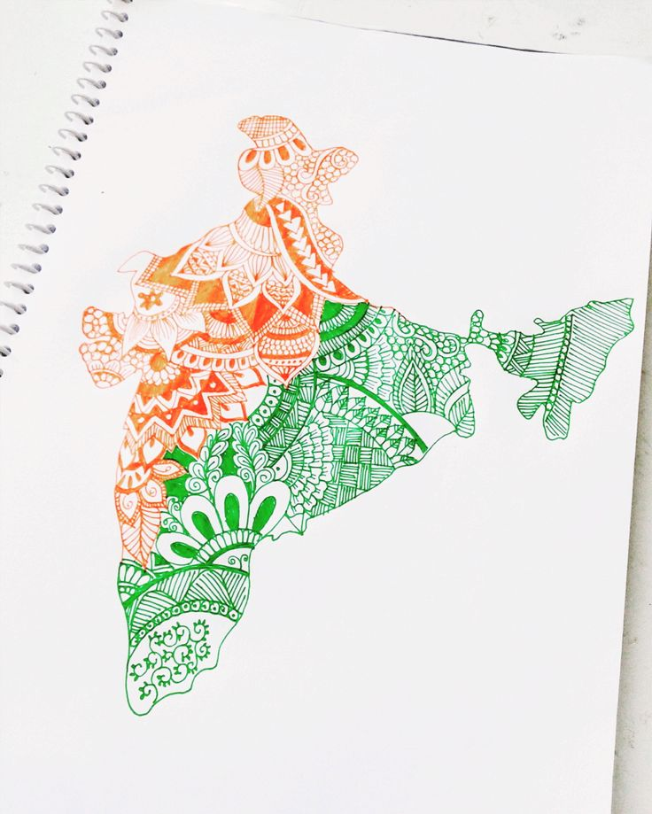 #independenceday #india #doodle #zentangle #colourpen #map