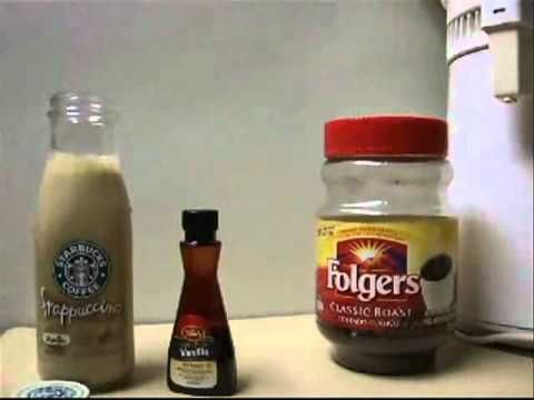 Homemade Vanilla Starbucks Frappuccino.  Add 2 TBS Sugar, 1 Tsp Instant Folgers Coffee, 1/4 Cup Hot Water to empty 13.7 oz bottle and swirl to dissolve.  Add 1 1/4 Cups 2% Milk and 1/4 tsp Vanilla.  Put the cap on bottle and shake until ready to drink.