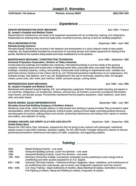Refrigeration Maintenance Resume Example