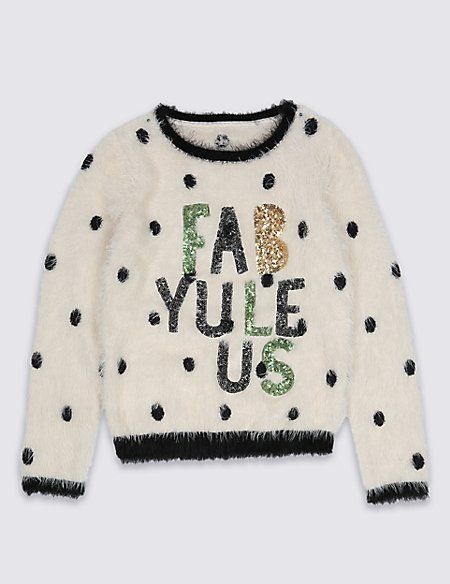 How cute is this Girls Christmas Jumper from the British Department Store, Marks and Spencer - Fab Yule Us! Long Sleeve Slogan Jumper (5-14 Years)