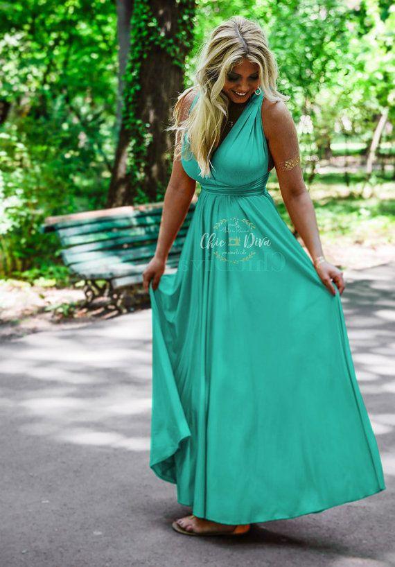 Turquoise Robe portefeuille Maxi Infinity robe pleine longueur Convertible 100 + Multiway formelles, robes de demoiselle d'honneur, robe de demoiselle d'honneur infini