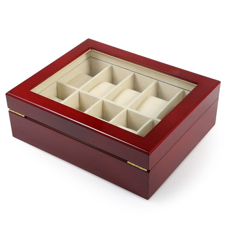 >> Click to Buy << 10 Grids Elegant Durable Red Wooden Watch Display Box Windowed Watches Case Jewelry Storage Holder Organizer Free Shipping #Affiliate