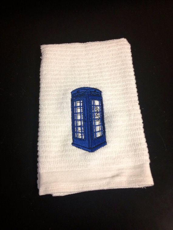 Doctor Who Phone booth embroidered hand towel on Etsy, $7.00