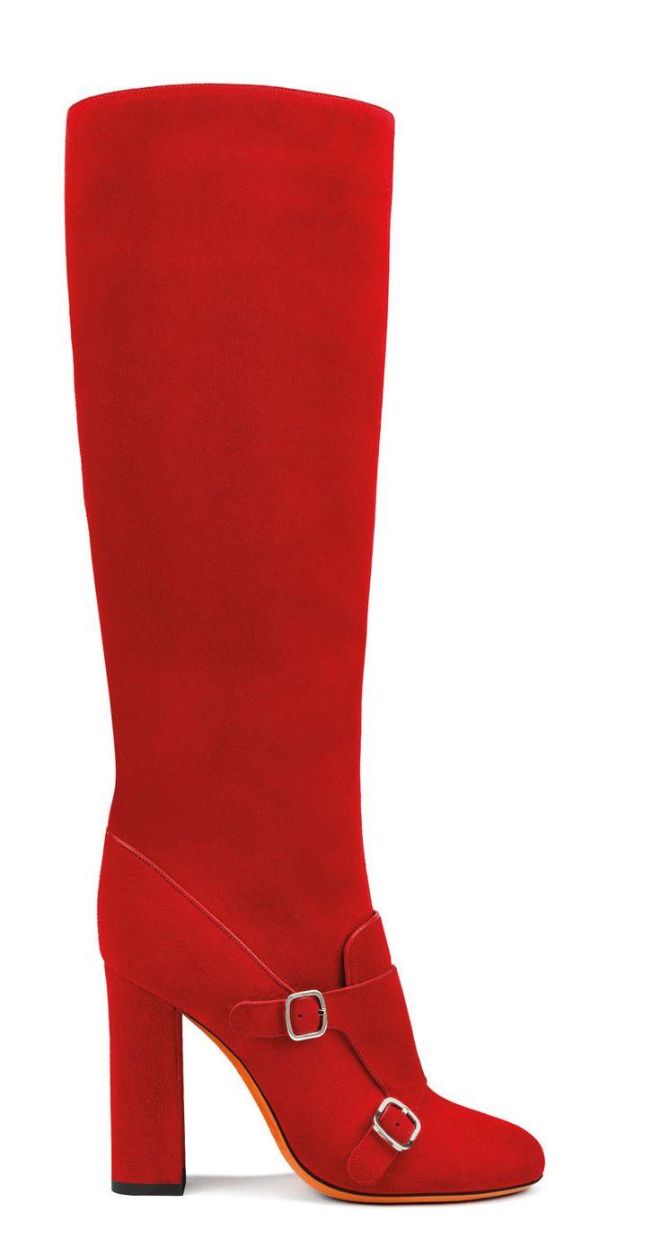 Santoni | Suede tube #boot with a #doublebuckle flap. #Santoni #Santonishoes #FW1516