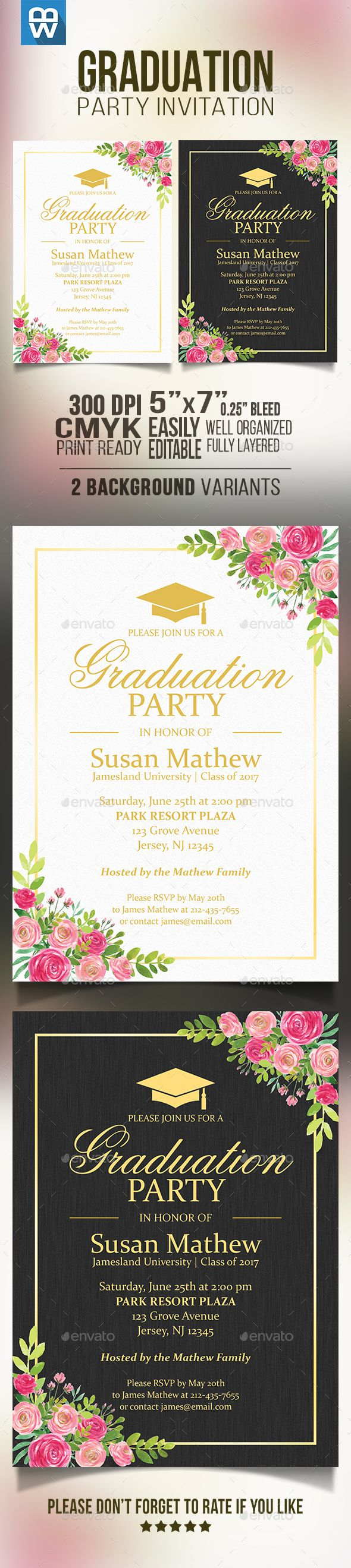 Floral Graduation Party Invitation Template PSD. Download here: http://graphicriver.net/item/floral-graduation-party-invitation/16185389?ref=ksioks