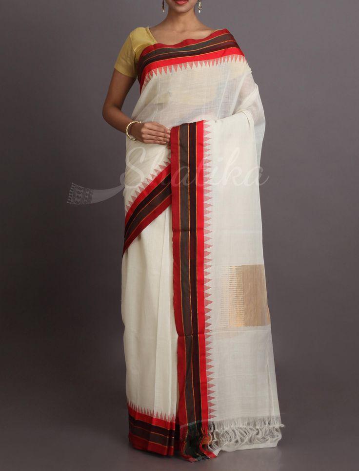 Anupama Moon White And Tri Color Border Pure #KhadiCottonSaree