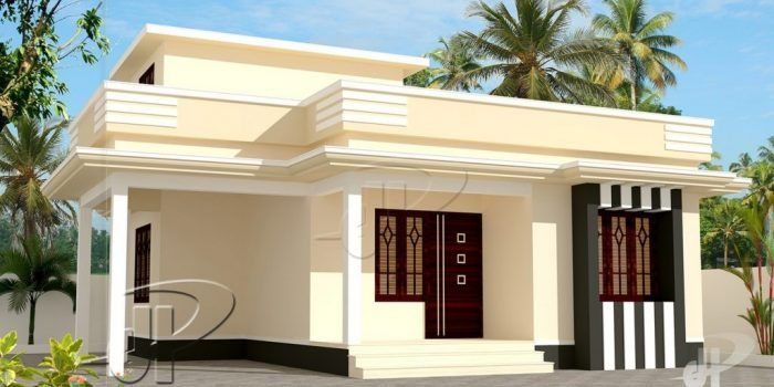 Picture Of One Bedroom Single Story Residence In 60 M Lot House Roof Design House Designs Exterior Flat Roof House