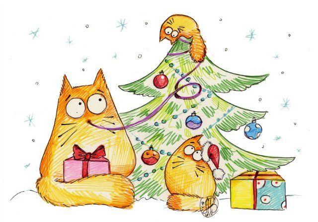 Доброе, нарисовать прикольную открытку на новый год