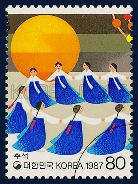 POSTAGE STAMPS FOR FOLKWAYS SERIES(Ⅳ), Chuseok, traditional culture, blue, white, orange, 1987 09 10, 민속시리즈(네번째묶음), 1987년 09월 10일, 1511, 추석, postage 우표