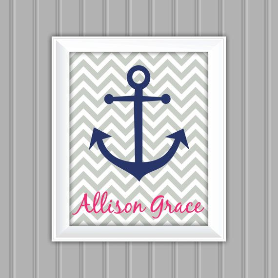 Nautical Wall Art Anchor Personalized Wall by CarouselPrintables, $8.00