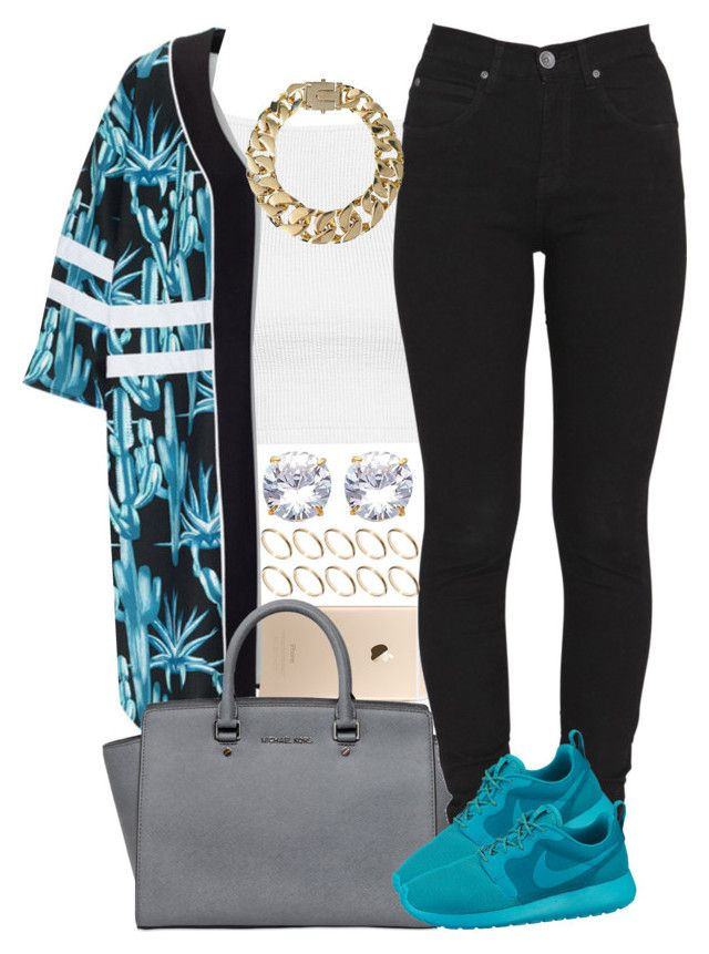 """""""Teal & Black"""" by livelifefreelyy ❤ liked on Polyvore featuring Topshop, MICHAEL Michael Kors, Dr. Denim, NIKE, AllSaints and ASOS"""