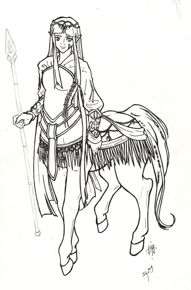 centaur mythical animal printable adult coloring pages  Fantasy