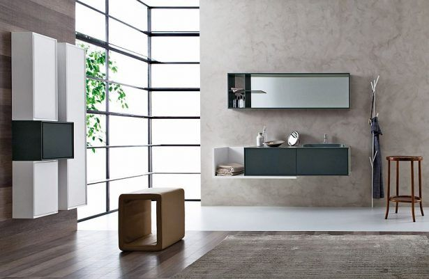 Sleek Polish Bathroom Grey And White Combinate Windows Door Wooden Floor
