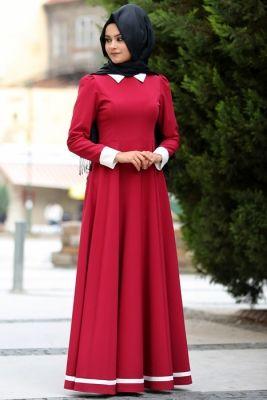 Nurgül Çakır Bordo Lal Tesettür Elbise