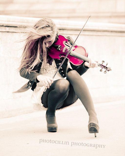 Girl playing pink violin repinned by Morgan Malott