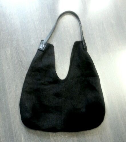 MODC bag.Linen/leather.Deep black.