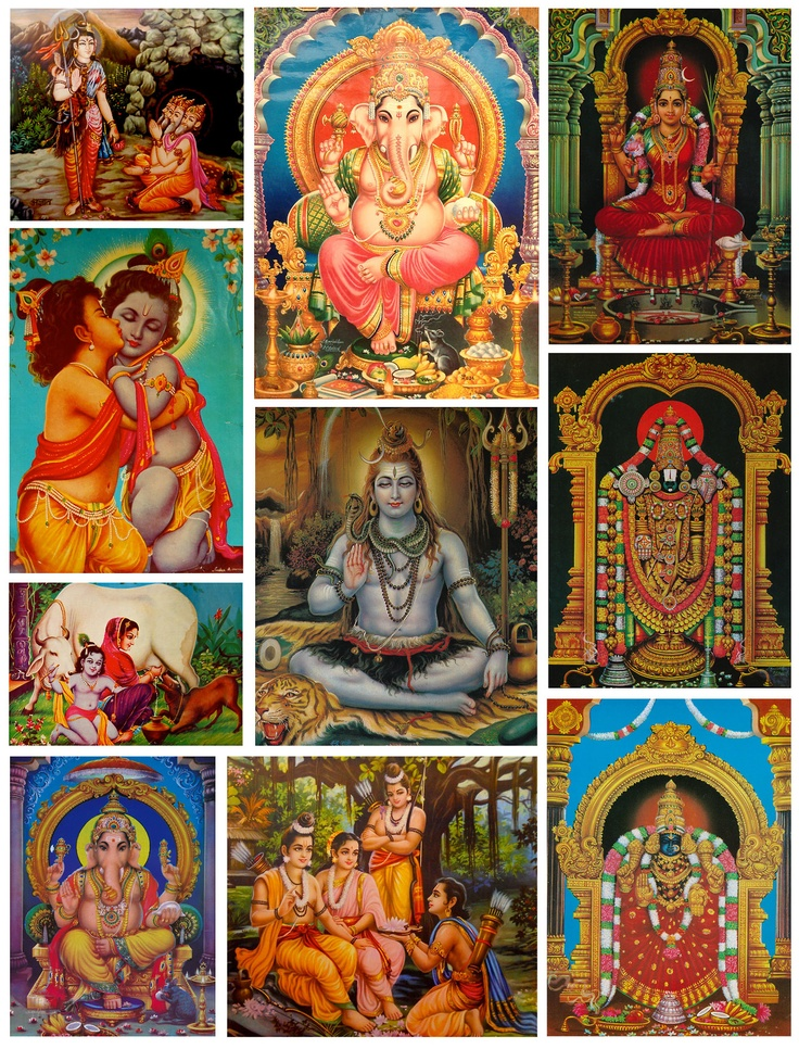 """A Collection of Hindu Gods"" How do all of these Gods relate to one another? What are their stories? How have they impacted Hinduism?"