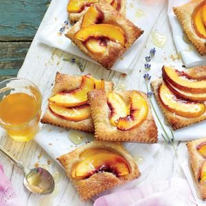 Nectarine slices on puff pastry sprinkled with sugar. Bake 15 min and drizzle with honey.