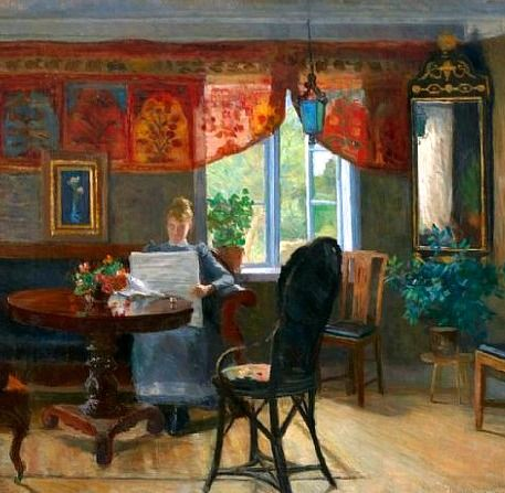 Kitty Lange Kielland Interior with Woman Reading Late 19th century
