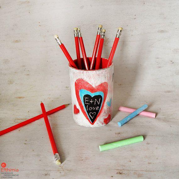 Papier mache pencil holder heart pen holder by EfthimiaPapierMache