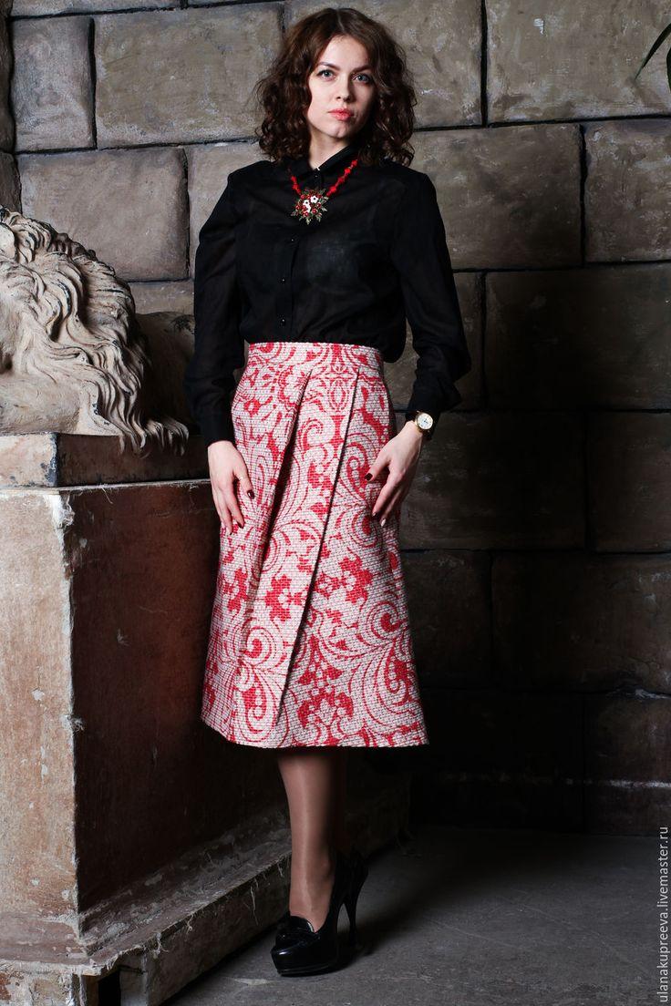 Купить Юбка из итальянского плотного жаккарда. - юбка, юбка трапеция, юбка в пол, юбка длинная
