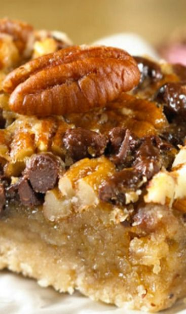 Chocolate Pecan Pie Bars Recipe ~ A bar cookie that tastes just like pecan pie with added chocolate chips