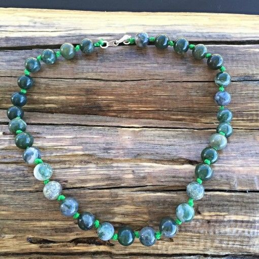 Moss Agate crystal gemstone healing hemp knot necklace. www.divineaura.com.au and join our Facebook family @ www.facebook.com/divineaura123 ******SOLD OUT******