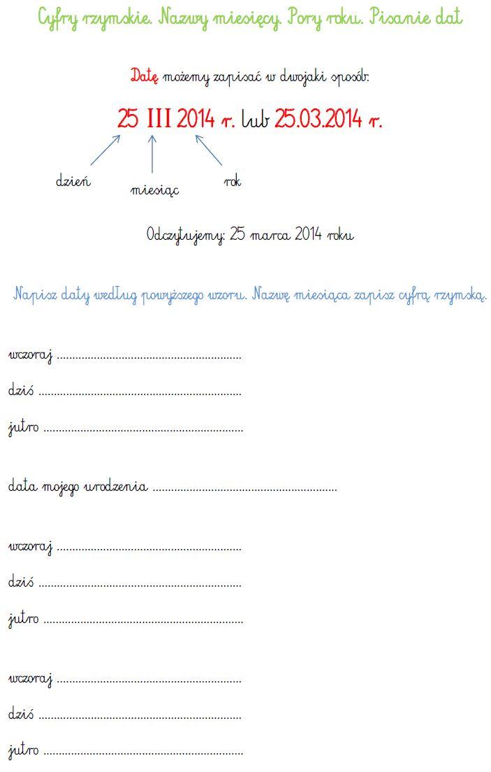 BLOG EDUKACYJNY DLA DZIECI: Pisanie dat