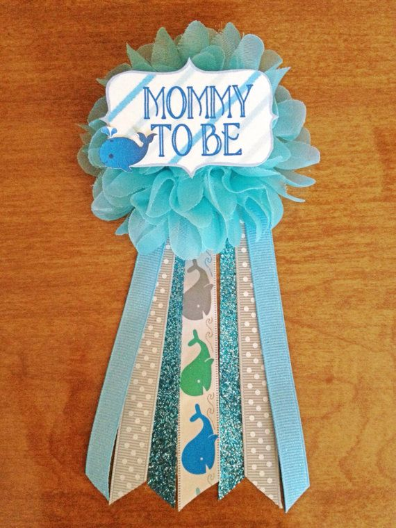 Blue Whale Baby Shower Mommy To Be Flower Ribbon Pin Corsage Glitter  Rhinestone Mommy Mom New Mom Blue Green Whale Under The Sea