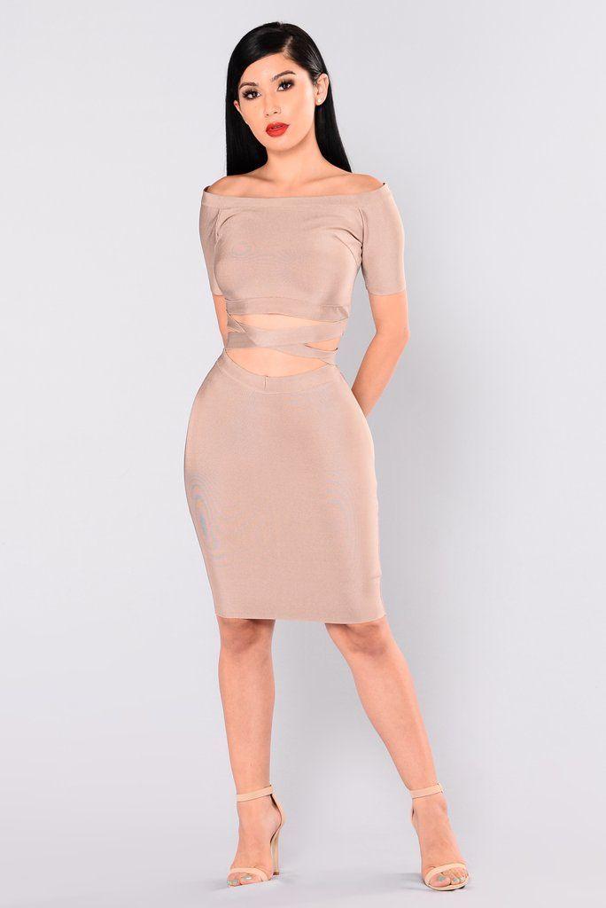 Excuse My Sass Bandage Dress – Almond