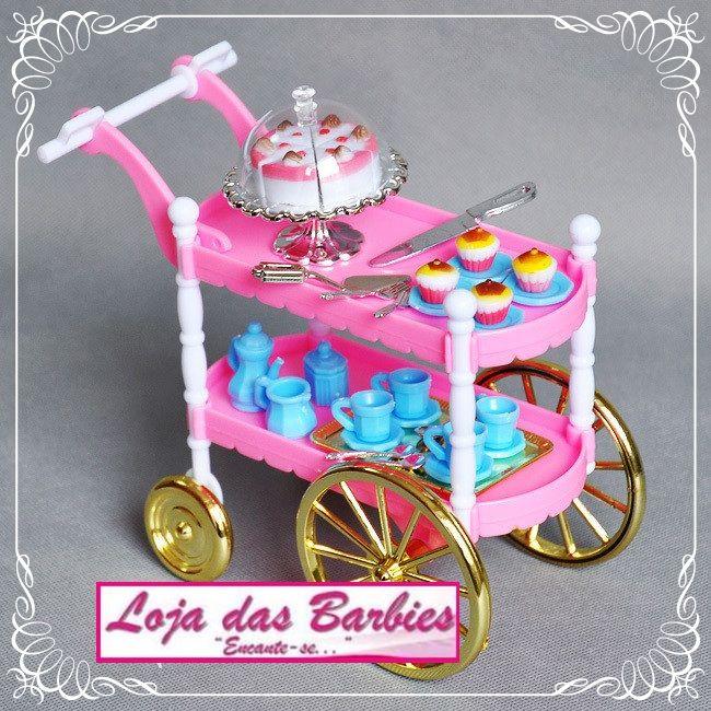 Lindo Carrinho * Café Da Manhã / Chá * Para Boneca Barbie ! - R$ 59,90 no MercadoLivre