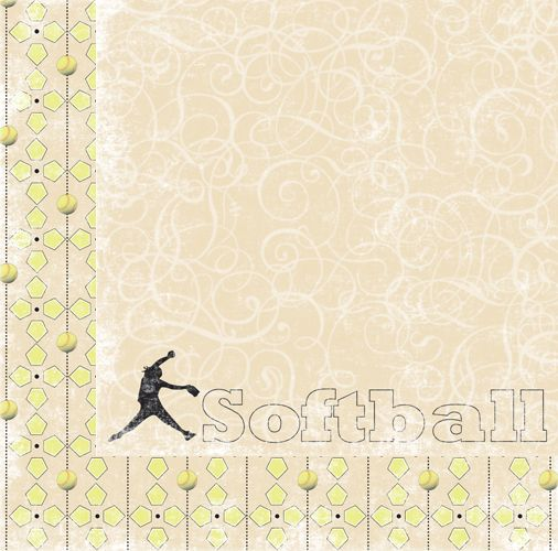 Moxxie - Curve Ball Collection - 12 x 12 Double Sided Paper - Softball at Scrapbook.com