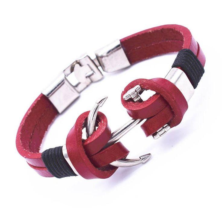 Anchor Red Leather Link Bracelet
