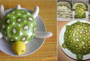Recept na zdravý kiwi dort ve tvaru želvy – pouze z ovoce