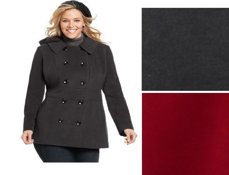 Style&co Removable Hood Pea Coat solid women's Plus Sizes 16W, 18W ...