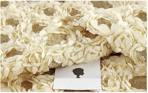 beige Rosette Lace Fabric Beige Chiffon Rose Fabric by LaceFun