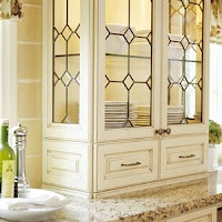 Leaded Glass Cabinet Doors - this seems really old fashioned. Could work to restore the old 1915 style.
