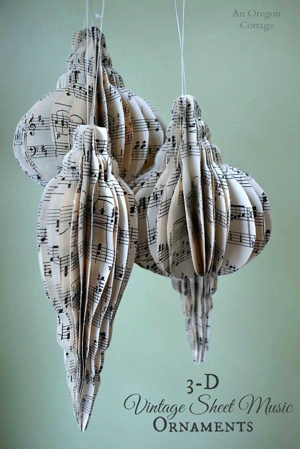 3-D Vintage Sheet Music Ornaments- a fun and easy Christmas decoration
