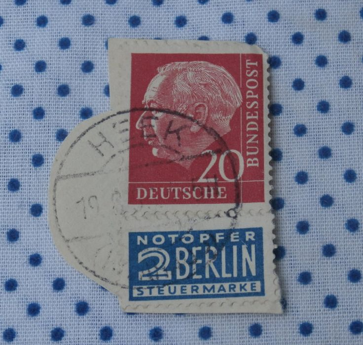 Germany Heuss Stamp, Deutsch Bundespost 20 w Notopfer 2