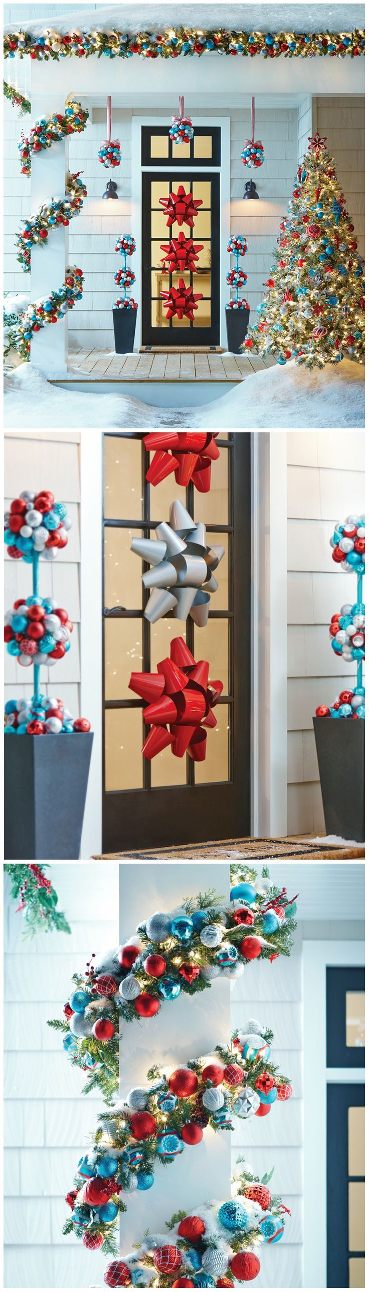 The frosty blues and silvers are warmed up by bright, festive red in these outdoor Christmas decorations from The North Pole Collection by Martha Stewart Living. It's a fun, whimsical look for the holiday season. The Home Depot has string lights, garland and wreaths to create the holiday look you're dreaming of for your front door... and throughout your home. Click through to start your holiday decor planning.