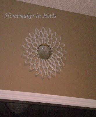 Homemaker in Heels: Toilet Paper Roll Flower Starburst Mirror ~ Only $1!