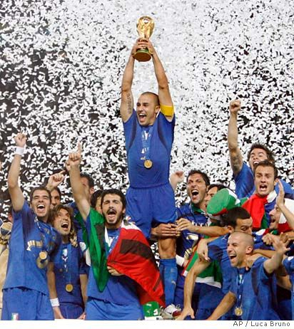 Italy winning the 2006 Fifa World Cup