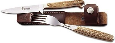 Camping Cooking Utensils 87133: Boker 03Ba501hh Knife And Fork Set W/Stag Handles And Belt Sheath -> BUY IT NOW ONLY: $78.79 on eBay!
