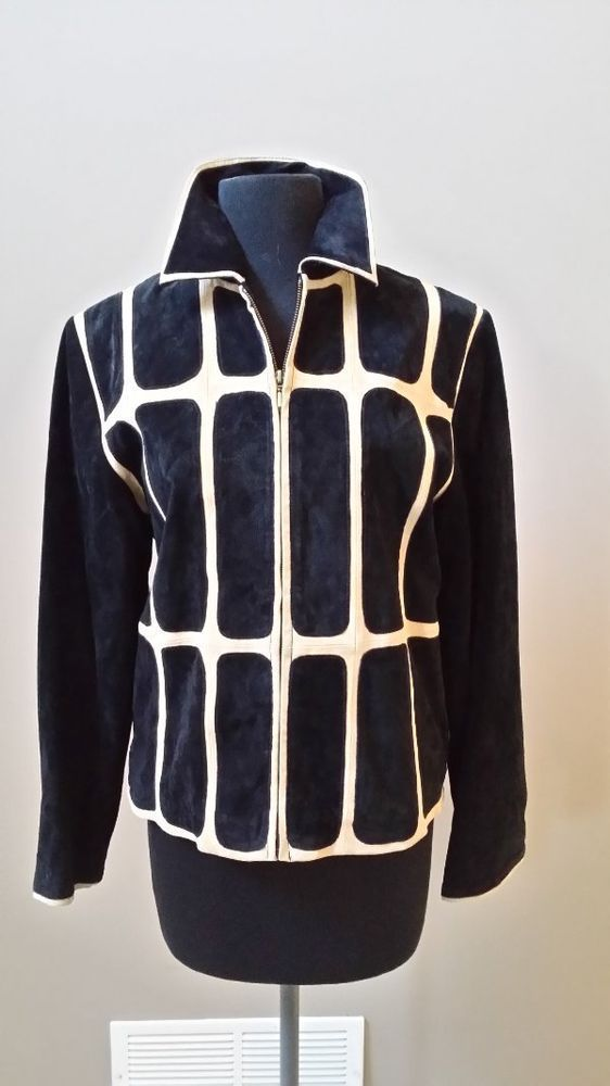 Vtg Outerwear by Lisa short black suede jacket with creme stripes zippered front #OuterwearbyLisa