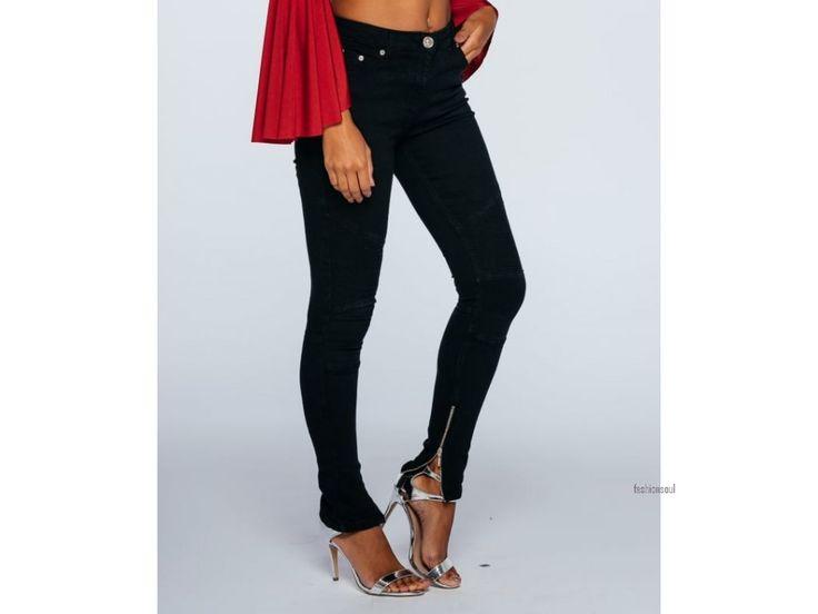 Dámské skinny jeans se zipem u kotníků a detaily nad koleny
