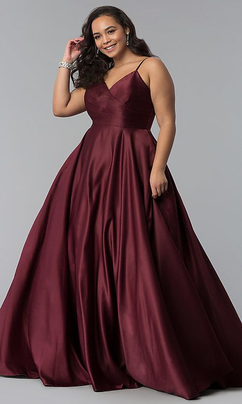 fdb6af25dd Image of plus-size a-line long satin prom dress with pleats. Style:  DQ-2339P Front Image