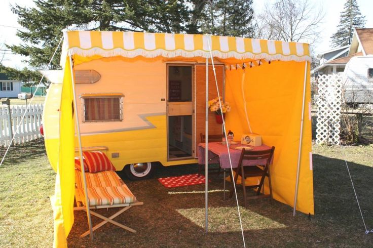 Add-a-room. It's like having a whole extra room for your tiny vintage trailer. More pics at http://littlevintagetrailer.com/2012/03/new-awning-add-a-room-by-martis-awnings/
