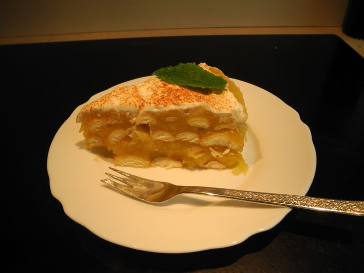 Apple cake- it's very delicious cake because very simple (only from apples, vanilla puding, sponges and sour cream)