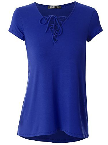 JayJay Women Caged Neck Short Sleeve Casual Tops,ROYALBLUE,L  Special Offer: $15.99  199 Reviews BUY NOW! DO NOT MISS **SPECIAL PRICE DEAL!***The size chart is attached to the last image.Feature: Caged criss cross neck, Short sleeve, Regular fit Shirts, T-shirts blouse tops.This unique...